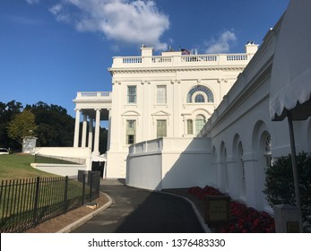 Washington DC,USA - Sep 21,2017:White House residence seen from the press conference room.
