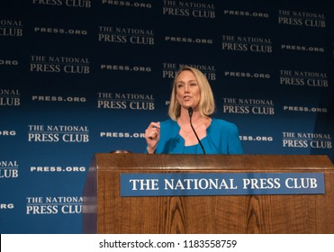 Washington, DC/USA - September 18, 2018: Stephanie Schriock, president of Emily's List, speaks on women and the midterm election to the National Press Club