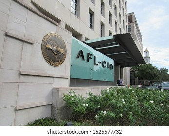 Washington, D.C./USA-10/7/19: The offices of AFL-CIO, also known as America's Unions, on 16th and Eye Streets, N.W., near the White House.