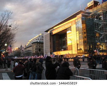 Washington, DC/USA-1/21/13: The Newseum, on Pennsylvania Ave., N.W. between the Capitol and the White House on the day of Barack Obama's second presidential inauguration.
