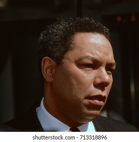 """Washington DC.USA,20th March,1988 National Security Adviser to the President Lieutenant General Colin Powell (USA) talks to reporters after his appearance on the Sunday Morning Talk show """"This Week"""""""