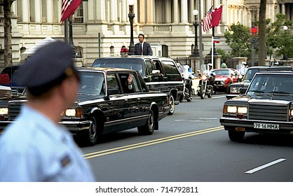Washington DC.USA,31th May,1990 Russian President Mikhail Gorbachev waves from his limousine as he rides from the Russian Embassy to the White House for summit meeting with President George H W Bush
