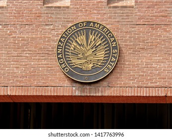 Washington, DC/USA-6/6/19: The official seal of the Organization of American States over the F Street, NW entrance of its Foggy Bottom offices.
