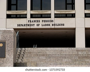 Washington, DC/USA-Aug. 16, 2014: The Frances Perkins Department of Labor Building is the headquarters of the sprawling agency, near the U.S. Capitol.