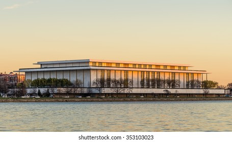 Washington - December 16: The John F. Kennedy center for the Performing Arts over the Potomac river in Washington DC, on December 16, 2015.