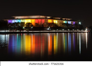 WASHINGTON - DECEMBER 4: The Kennedy Center for the Performing Arts is lit up in rainbow colors for the Kennedy Center Honors in Washington DC on December 4, 2017