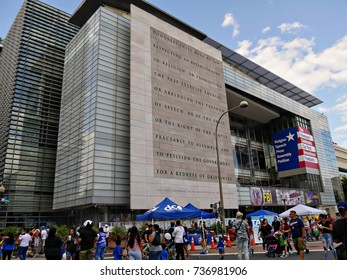WASHINGTON, DISTRICT OF COLUMBIA—SEPTEMBER 2017: People walking outside the Newseum building during the Fiesta DC at Pennsylvania Avenue  in Washington DC.