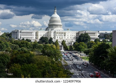 Washington, District of Columbia / United States of America - 10 20 2018: Dramatic sky over The Capitol Building in Washington DC