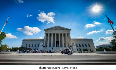 Washington, District of Columbia / United States – October 03, 2018:  Spectators gather to witness hearings at the US Supreme Court.