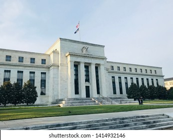 Washington, District of Columbia, USA - May 28, 2019: The Federal Reserve Board of Governors Building on Constitution Avenue in Washington DC