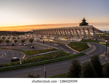 WASHINGTON DULLES, USA - 10 APRIL 2019: Washington Dulles International Airport is floodlit at dawn