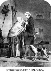 Washington, elected president of the United States, bids farewell to his mother, vintage engraved illustration. Magasin Pittoresque 1857.