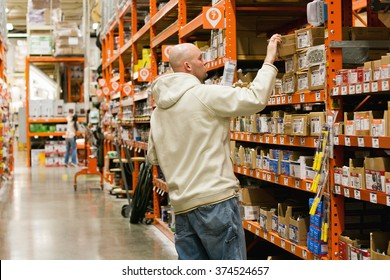 WASHINGTON. FEBRUARY 1 2016. Man shopping for electrical supplies at the local Home Depot retail home improvement store in Snohomish, Washington.