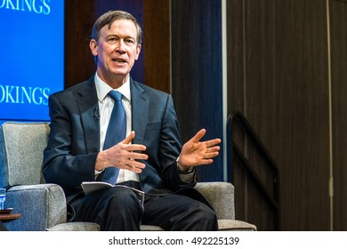 WASHINGTON - FEBRUARY 20, 2015: Colorado Governor John Hickenlooper speaks at the Brookings Institute for an event about state governance.