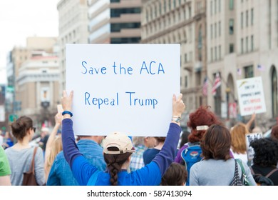 WASHINGTON FEBRUARY 25: Protesters rally against President Trump's repeal of the Affordable Care Act on February 25, 2017 in Washington DC