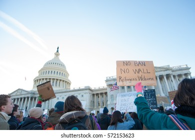 WASHINGTON FEBRUARY 4:  Protesters rally against President Trump's travel ban on February 4, 2017 in Washington DC