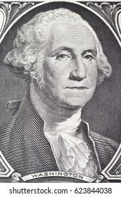 Washington  George portrait on dollar bill closeup