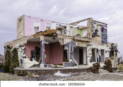 WASHINGTON, ILLINOIS, USA - MARCH 21, 2014: Remains of a house hit by a tornado on November 17, 2013, that destroyed entire neighborhoods there.