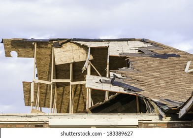 WASHINGTON, ILLINOIS, USA - MARCH 21, 2014: Remains of upper story of single-family house hit by a tornado on November 17, 2013, that destroyed entire neighborhoods in the area.