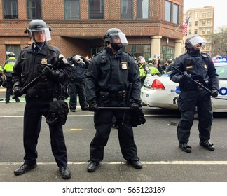 "WASHINGTON, Jan. 20, 2017 -- Police in riot gear surround detained #DisruptJ20 protesters during the presidential inauguration of Donald Trump, resulting in a mass arrest and ""felony rioting"" charges."