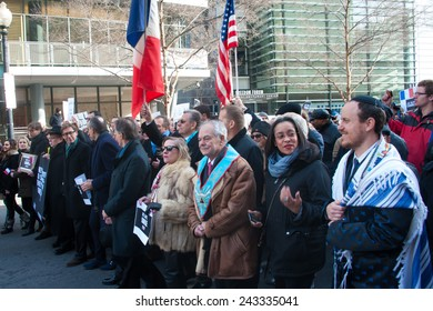 WASHINGTON - JANUARY 11: Protestors march silently against the terror attacks in Paris in Washington, DC on January 11, 2015