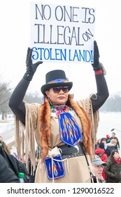 WASHINGTON JANUARY 18 – A participant in the first ever Indigenous Peoples March protests in Washington, DC on January 18, 2019