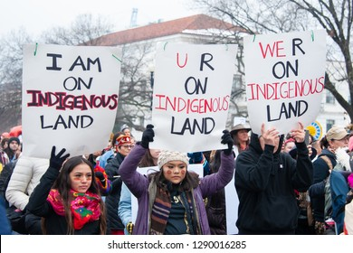 WASHINGTON JANUARY 18 – Participants in the first ever Indigenous Peoples March protest in Washington, DC on January 18, 2019
