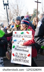 WASHINGTON JANUARY 18:  Pro life supporters participate in the March for Life in Washington, DC on January 18, 2019