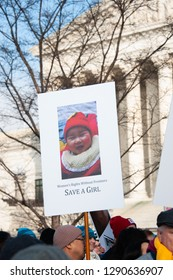 WASHINGTON JANUARY 18:  A pro-life supporter holds a sign at the March for Life in Washington, DC on January 18, 2019