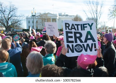 WASHINGTON JANUARY 2018: Demonstrators rally in support of women's rights and urge America to take to the polls in the 2018 midterm elections at the Women's March on January 20, 2018 in Washington DC