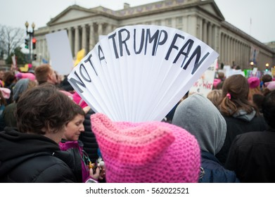 WASHINGTON January 21:  A protester holds a sign at the Women's March on Washington rally in support of women's rights in Washington DC on January 21, 2017 a day after President Trump's inauguration