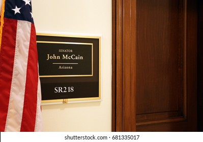 WASHINGTON - JULY 18: The entrance to the office of Senator John McCain in Washington, DC on July 18, 2017. The United States Senate is the upper chamber of the United States Congress.