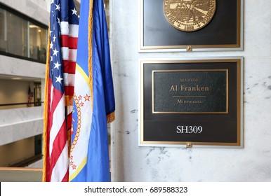 WASHINGTON - JULY 18: The entrance to the office of Senator Al Franken in Washington, DC on July 18, 2017. Al Franken is the junior United States Senator from Minnesota.