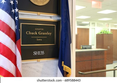 WASHINGTON - JULY 18: The entrance to the office of Senator Chuck Grassley in Washington, DC on July 18, 2017. Chuck Grassley is the senior United States Senator from Iowa.