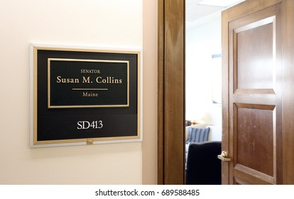 WASHINGTON - JULY 18: The entrance to the office of Senator Susan Collins in Washington, DC on July 18, 2017. Susan Collins is the senior United States Senator from Maine.