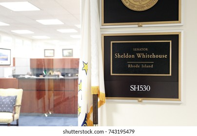 WASHINGTON - JULY 18: The entrance to the office of Senator Sheldon Whitehouse in Washington DC on July 18, 2017. Sheldon Whitehouse is the junior United States Senator from Rhode Island.