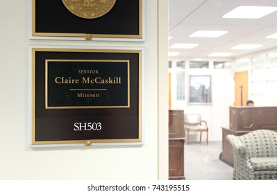 WASHINGTON - JULY 18: The entrance to the office of Senator Claire McCaskill in Washington DC on July 18, 2017. Claire McCaskill is the senior United States Senator from Missouri.
