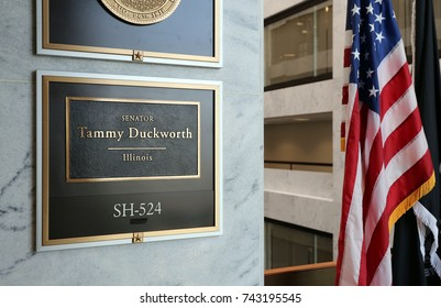WASHINGTON - JULY 18: The entrance to the office of Senator Tammy Duckworth in Washington DC on July 18, 2017. Tammy Duckworth is the junior United States Senator from Illinois.