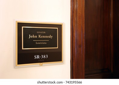 WASHINGTON - JULY 18: The entrance to the office of Senator John Neely Kennedy in Washington DC on July 18, 2017. John Neely Kennedy is the junior United States Senator from Louisiana.