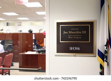 WASHINGTON - JULY 18: The entrance to the office of Senator Joe Manchin in Washington DC on July 18, 2017. Joe Manchin is the senior United States Senator from West Virginia.
