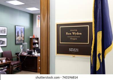 WASHINGTON - JULY 18: The entrance to the office of Senator Ron Wyden in Washington DC on July 18, 2017. Ron Wyden is the senior United States Senator from Oregon.
