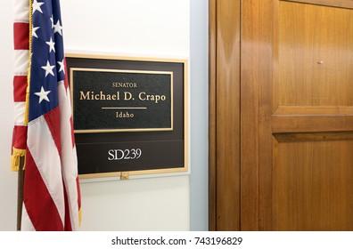 WASHINGTON - JULY 18: The entrance to the office of Senator Mike Crapo in Washington DC on July 18, 2017. Mike Crapo is the senior United States Senator from Idaho.