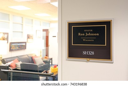 WASHINGTON - JULY 18: The entrance to the office of Senator Ron Johnson in Washington DC on July 18, 2017. Ron Johnson is the senior United States Senator from Wisconsin.