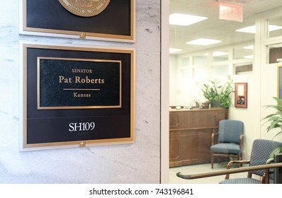 WASHINGTON - JULY 18: The entrance to the office of Senator Pat Roberts in Washington DC on July 18, 2017. Pat Roberts is the senior United States Senator from Kansas.