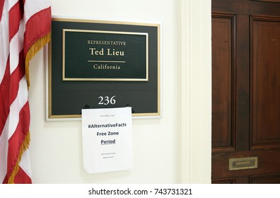 WASHINGTON - JULY 18: The entrance to the office of Representative Ted Lieu in Washington DC on July 18, 2017. Ted Lieu is a congressman from the state of California.