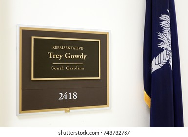 WASHINGTON - JULY 18: The entrance to the office of Representative Trey Gowdy in Washington DC on July 18, 2017. Trey Gowdy is a congressman from the state of South Carolina.