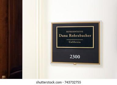 WASHINGTON - JULY 18: The entrance to the office of Representative Dana Rohrabacher in Washington DC on July 18, 2017. Dana Rohrabacher is a congressman from the state of California.