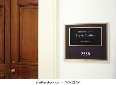 WASHINGTON - JULY 18: The entrance to the office of Representative Steve Scalise in Washington DC on July 18, 2017. Steve Scalise is a congressman from the state of Louisiana.