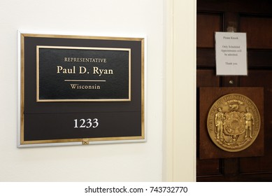 WASHINGTON - JULY 18: The entrance to the office of Representative Paul Ryan in Washington DC on July 18, 2017. Paul Ryan a congressman from the state of Wisconsin & the current Speaker of the House.