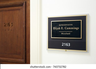 WASHINGTON - JULY 18: The entrance to the office of Representative Elijah Cummings in Washington DC on July 18, 2017. Elijah Cummings is a congressman from the state of Maryland.